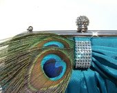 Peacock Wedding Clutch / Peacock and Crystal encrusted Satin Evening Bag rhinestone / Choose champagne silver teal black - wedding bag
