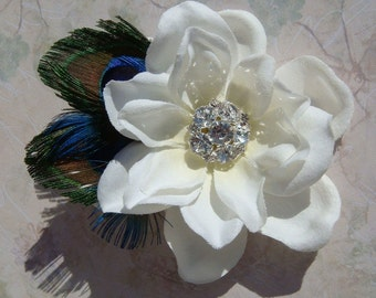 PEACOCK Wedding Flower Hair Clip with diamond rhinestone centerpiece - bridal hair pin brooch peacock feather ivory hair flower