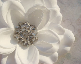 Pure White Hair Flower / bridal white flower hair clip / flower hair clip with sparkling rhinestone / DARLA