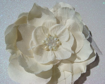 Ivory Champagne Elegance / bridal hair flower with swarovski crystals and pearls / ivory bridal flower clip / tulle russian veiling