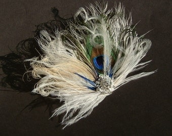 Elegant PEACOCK Wedding Hair Clip / bridal peacock feather fascinator / peacock clip with sparkling rhinestone