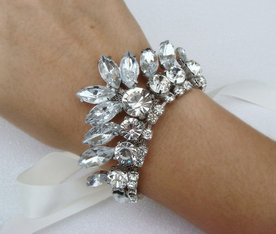 12 SALE Rhinestone BRIDAL cuff Bracelet / satin vintage glamour bridal rhinestone bracelet / wedding cuff ribbon