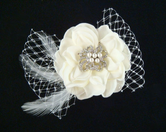 Vintage Wedding Ivory Hair Flower with russian netting, feathers, rhinestone and pearl centerpiece / ivory flower hair clip fascinator