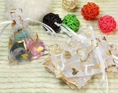 25 Organza Bags for Jewelry Orders White with Gold Hearts