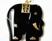 LARGE Vintage 14K Gold Genuine Black Onyx Elephant Pendant with Real Ruby Eye Great Gift Idea under 100