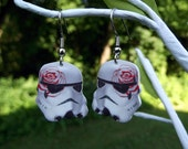 Star Wars Stormtrooper girly flower earrings (red rose)