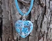 Blue millefiori glass heart necklace
