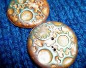 Steampunk polymer clay buttons golden