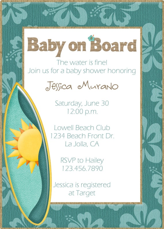 items similar to beach themed baby shower invitation on etsy, Baby shower invitations