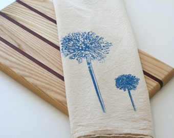 Natural Flour Sack Towel - Blue Allium - Hand Screen Printed