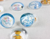 BOY Baby Shower- Teddy Bear- Glass Gems Table Confetti & Favors - 35 SMALL