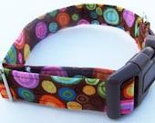 Multi color Circle Polka Dots Adjustable Dog Collar. Made to order.