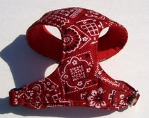 Comfort Soft Dog Harness for small dog Bandana pattern - Made to order -