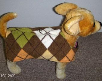 Argyle pattern Fleece Harness-Vest