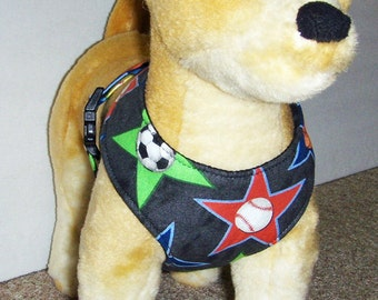 Comfort Soft Walking Harness for small dog sports theme. - Made to Order -