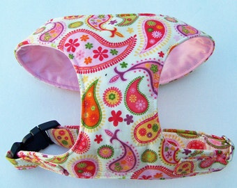 Multi color Paisley Comfort Soft Harness for dog - Made to order -