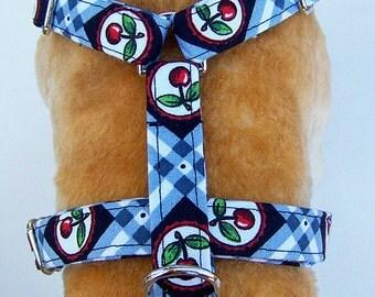 Adjustable Dog Harness. Cherry,  Grey and Black Check.