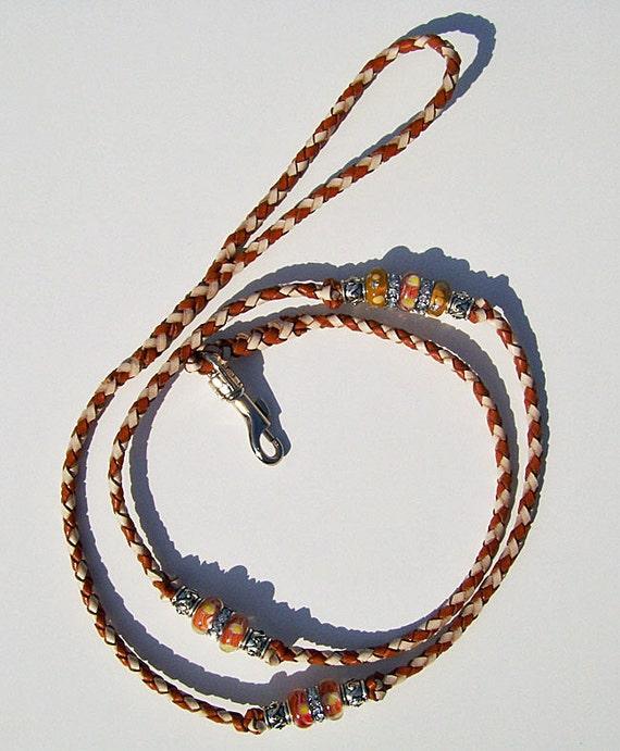 Braided Beaded Kangaroo show dog leash Saddle tan and Natural