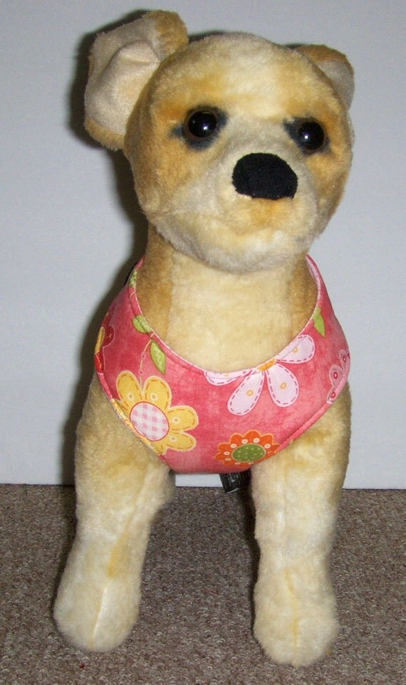 Pink flowered comfort Soft Dog harness. - Made to order -