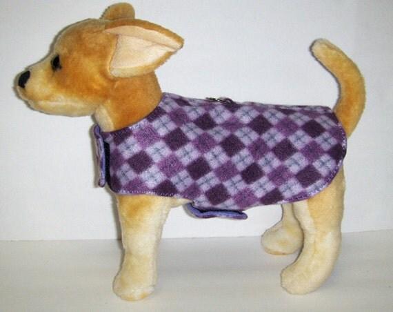 Purple Argyle Harness-Vest for Small Dog