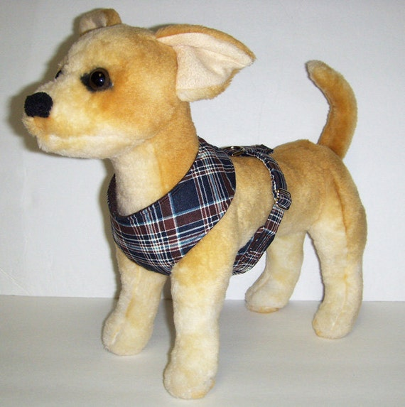 Comfort Soft Harness for Small Dog. Plaid, Blue, Brown.