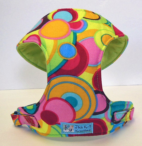 Comfort Soft Harness for Small Dog. Multi color circle, Polka dots.