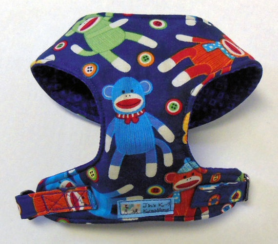 Comfort Soft Harness for Small Dog, Sock monkey.