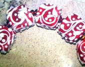 TRELLIS SWIRLS, White on Red  - HandMade LampWork Glass Beads  By Kathleen Robinson-Young (set of 5beads)