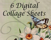 BUNDLE DISCOUNT - 6 Digital Collage Sheet - Clip Art Elements- Digital Scrapbooking-Best Deal- Choose 6 Collage Sheets