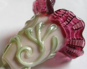Lampwork Focal Bead-  Pendant Bead - SRA- I Pink and Wine - Bell Flower- Glass beads