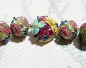 ROSE GARDEN   - HandMade LampWork Glass Beads  By Kathleen Robinson-Young (set of 5 beads)