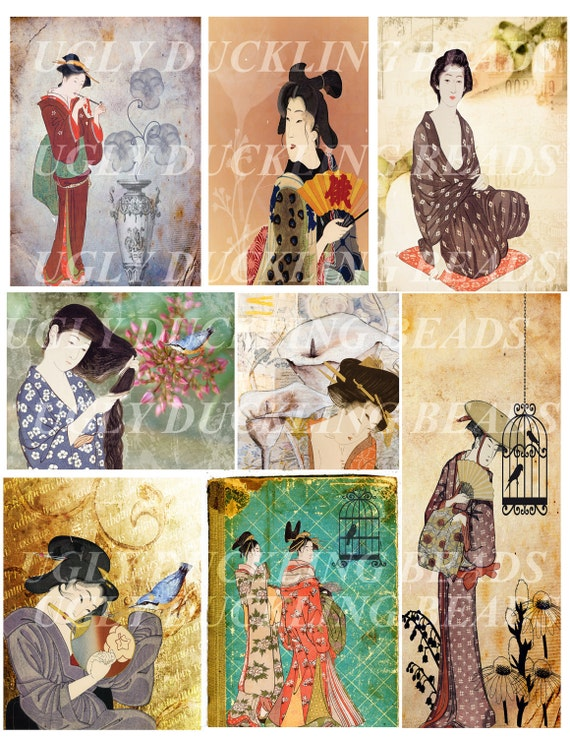 Ladies of Old Japan Digital Collage Sheet - Original Art Work- Clip Art Elements- Digital Scrapbooking