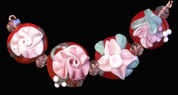 "Lampwork, Glass Beads, Flowers, Bracelet Set- 4 Glass Beads- ""Vintage Flower Medley"" -SRA"