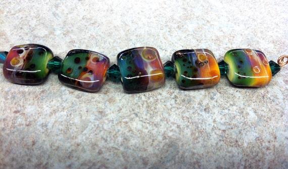 HandMade Boro LampWork Glass Beads -set of 5beads- RAINBOW- Artisan Beads-SRA