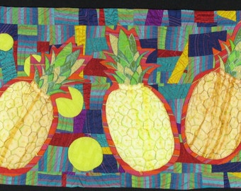 Handmade Art Quilt - DANCING PINEAPPLES