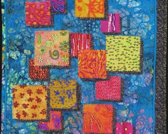 Handmade Art Quilt - BEADED SQUARES