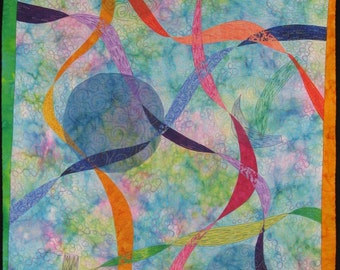 Handmande Art Quilt - RIBBONS