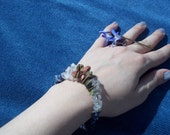 Natural Gemstone Memory Wire Bracelet, Healing Stones, Get a Job, Unakite, Soldalite, Quartz, Gemstone Synergy