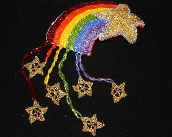 Light Divine, Seed Bead Art Hair Adornment, Statement Jewelry, czech bead barrette, Rainbow and Stars OOAK Original Bead Art