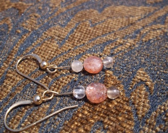 Light of Happiness, Healing Stone Earrings, Natural Sunstone and Rutilated Quartz, Gemstone Synergy, 14k gold filled earrings