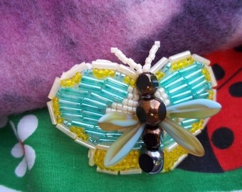 Fantasy Butterfly barrette, Bead weaving, beaded, seed, bugle, turquoise and yellow, Heavenly Hair Adornment, hair jewelry, (OOAK)