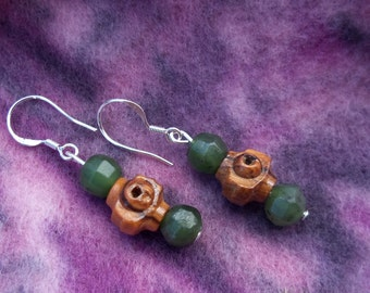 Jade Earrings:Peace With Heart, Gemstone Synergy Earrings,Nephrite Jade, Eco-Sustainable Olive Wood, Sterling Silver