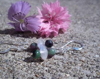 Moonstone, Ruby Zoisite Earrings, Mystery, Healing Stone Earrings, Rainbow Moonstone, Gemstone Synergy Earrings