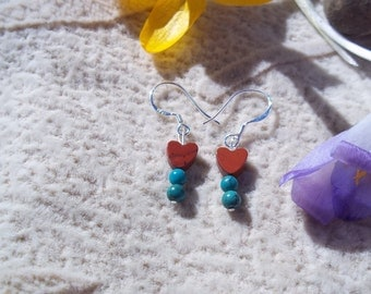 Natural Turquoise Red Jasper Sterling Silver Heart Earrings, Gemstone Synergy, Healing Stones, Protection Stones