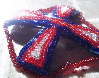 Equal Armed Cross of Christ, Barrette, Seed Beaded Hair Adornment, Necklace, Custom Made Jewelry, Red, White And Blue, French Barrette