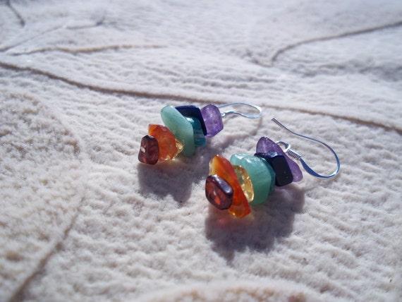 Rainbow Chakra Natural Gemstone Earrings, Sterling Silver Ear Wire