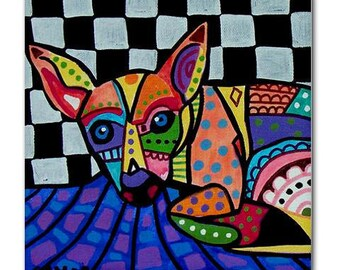 65% Off- Chihuahua art Tile Ceramic Coaster Mexican Folk Art Print of painting by Heather Galler Dog