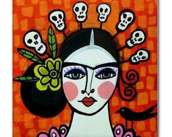 MEXICAN TILE Day of The Dead   Mexican Folk Art Ceramic Tile  Mexican Talavera Tiles Gift COASTER (Hg372)
