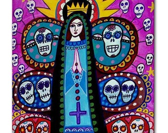Mexican Tree of Life Art Tile  Day of the Dead Art Ceramic Coaster Tile  Virgin of Guadalupe Mexican Folk Art (HG656)
