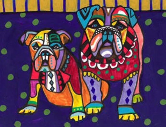 50% Off - Bulldogs Art - English Bulldog art dog Poster Print of painting by Heather Galler (HG239)